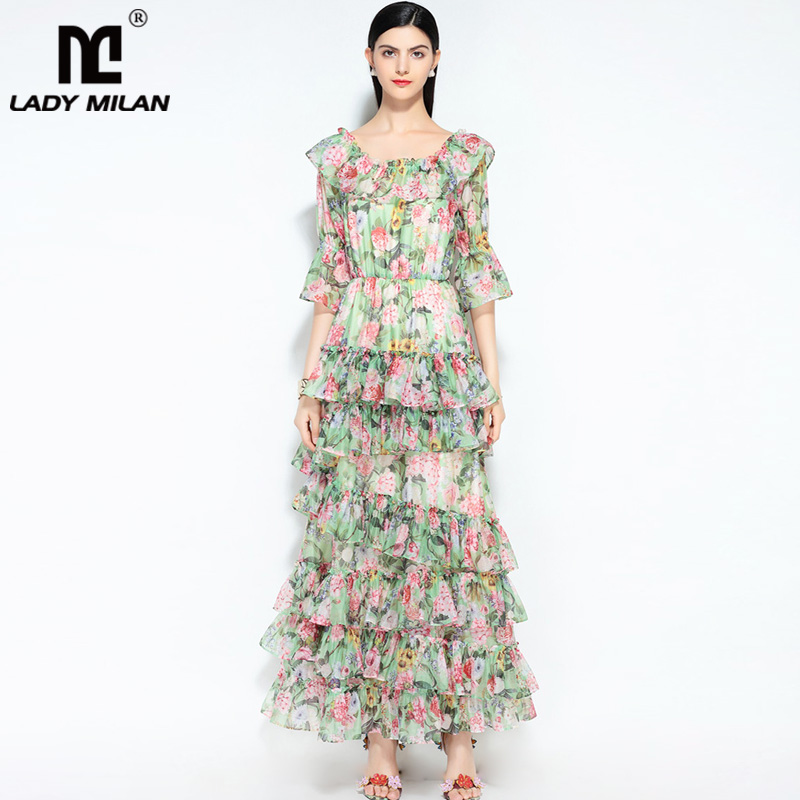 New Arrival Womens O Neck 3/4 Sleeves Tiered Ruffles Floral Printed Elegant Long Casual Designer Runway Dresses