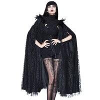 ЕВА леди 2018 Новый готический пальто Для женщин черный Винтаж кружева плащ с высоким воротником рукав летучая мышь длинное пальто Хэллоуин