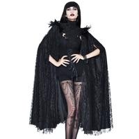 Эва леди Готическая накидка женский черный плащ пончо Femme кружево Винтаж с высоким воротником рукав «летучая мышь» длинный маскарадный пла