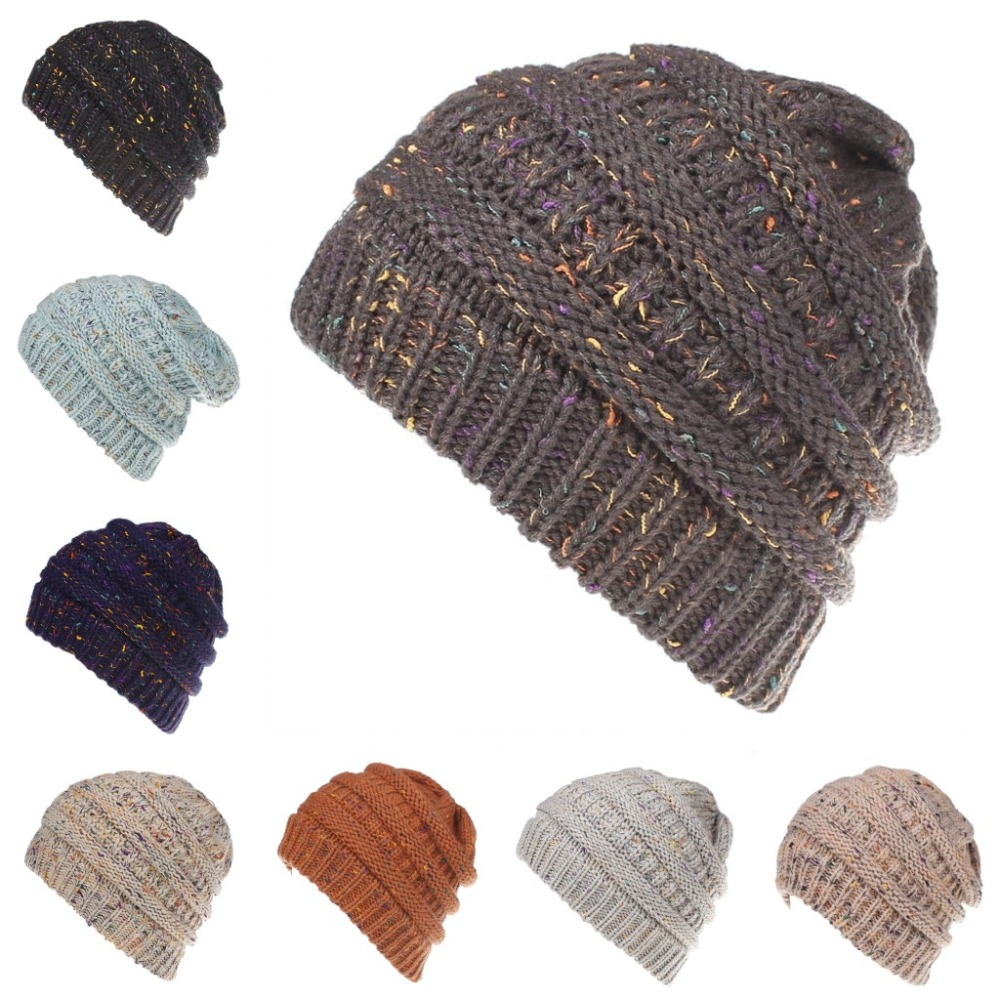 b23c74fd744 Detail Feedback Questions about Ponytail Ribbed Beanie Soft Stretch Cable  Knit Warm Skull Cap Multi Color Ribbed Hat Cap on Aliexpress.com