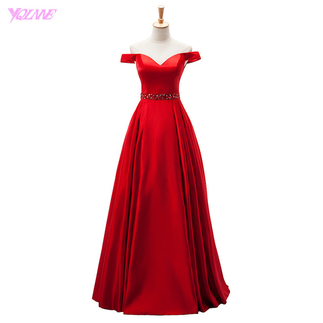 YQLNNE 2018 Red Long Prom Dresses Off the Shoulder Satin Zipper Back Floor Length Evening Gown Women Party Dress