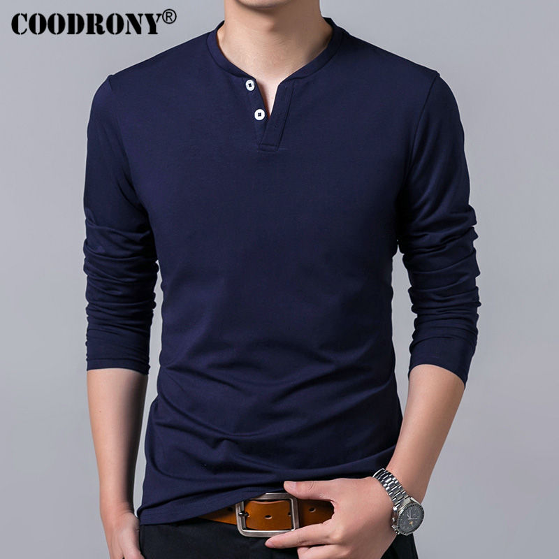 Coodrony T-shirt Men Spring Autumn New Long Sleeve Henry Collar T Shirt Men Brand Soft Pure Cotton Slim Fit Tee Shirts 7625 #4