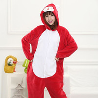 Unisex Adult Flannel Pajamas Cosplay Cartoon Cute Ali Fox Animal Winter Onesies Women Christmas Halloween Pyjama