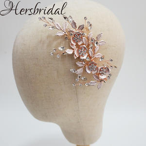 Rose Gold Bridal Hair Clip Crystal Flower Wedding Headpiece Leaves Hair Combs Bridal Jewelry