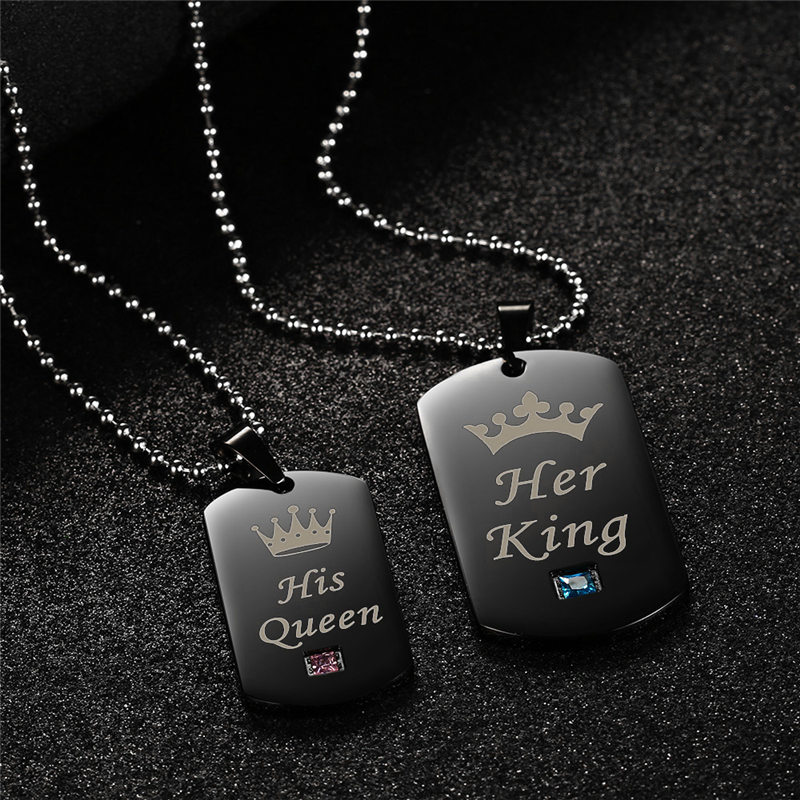 5598199669 GAGAFFEL Dog Tags Necklace Military Army Cards Couple Necklace Jewelry Her  King His Queen Stainless Steel Pendant Necklaces -in Pendant Necklaces from  ...
