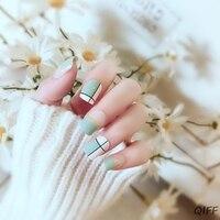 24pcs/set Acrylic Fake Fingernails Ins Rendering False Nails Simple Women Full Nail Tips Patch Short Nail Sticker