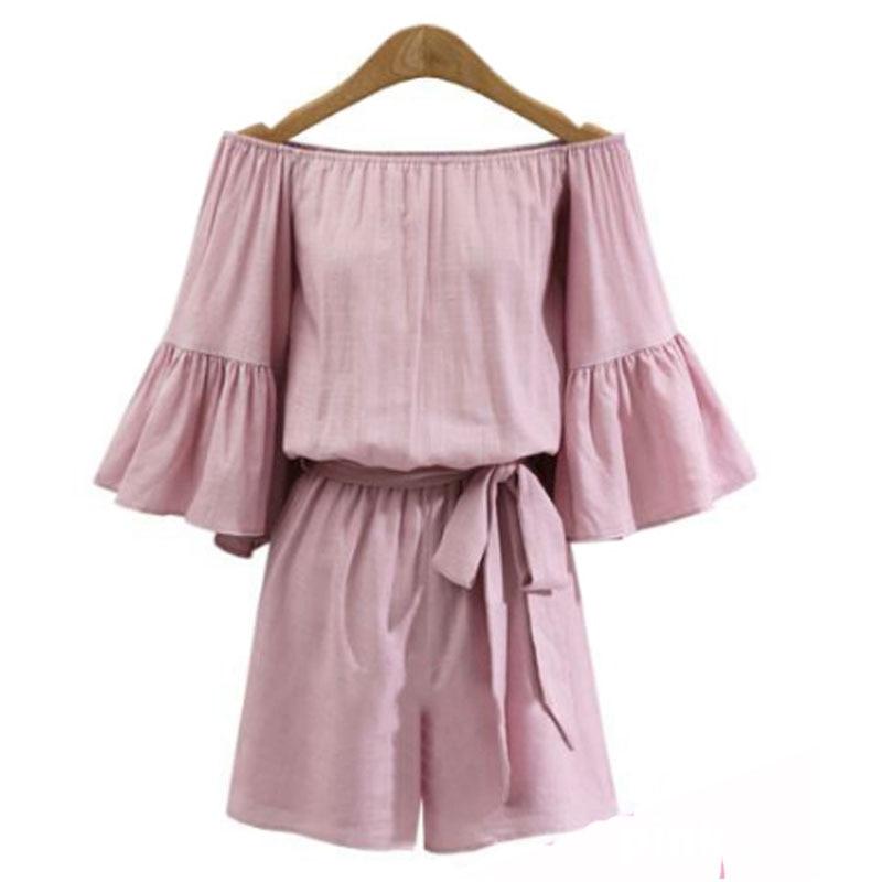 2020 New Plus Size 4XL European Style Women Off Shoulder Jumpsuit Loose Cotton Bow Rompers Sexy Slash Neck Ladies Clothing