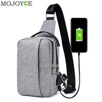 Unisex External USB Charge Chest Bags Men Chest Pack Travel Crossbody Bag Anti Theft Chest Bags