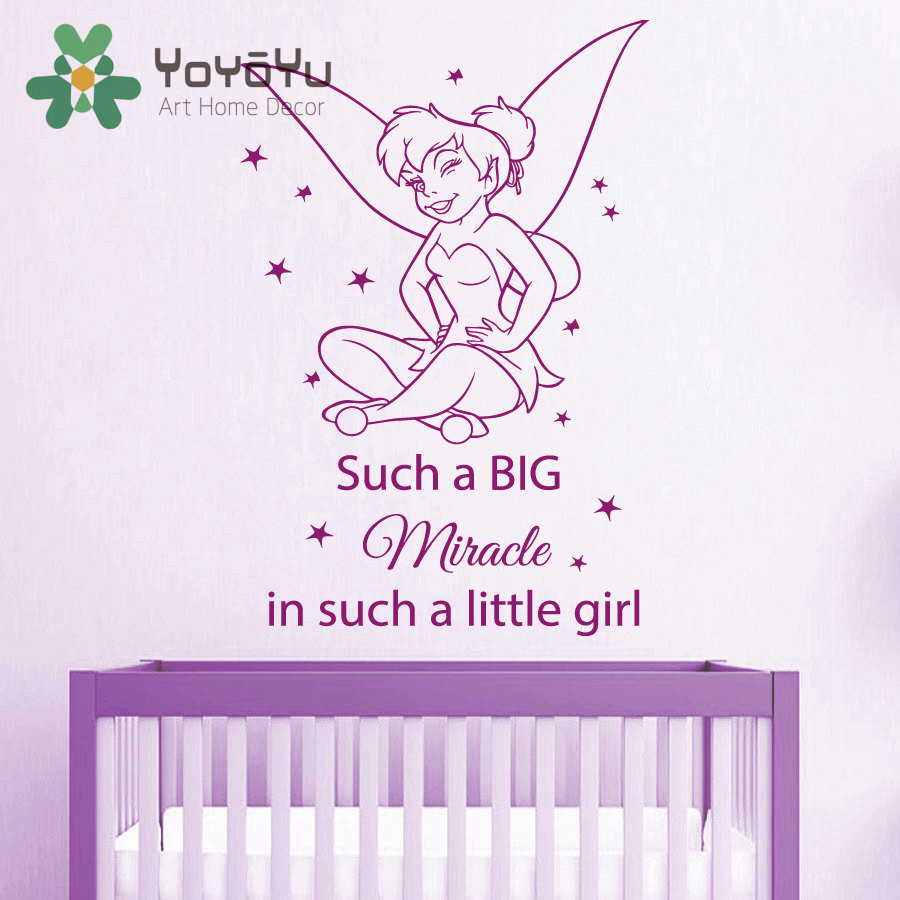 Removable Sticker Such a Big Miracle in Such a Little Girl Vinyl Mural Baby Fairy Girls Bedroom Nursery Room Decal NY-71