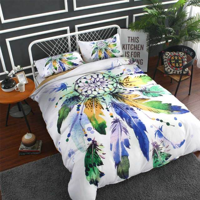 Cilected Dream Catcher 1pc Single Bed Sheet White Blue Feather Printed Flat Bedding Set