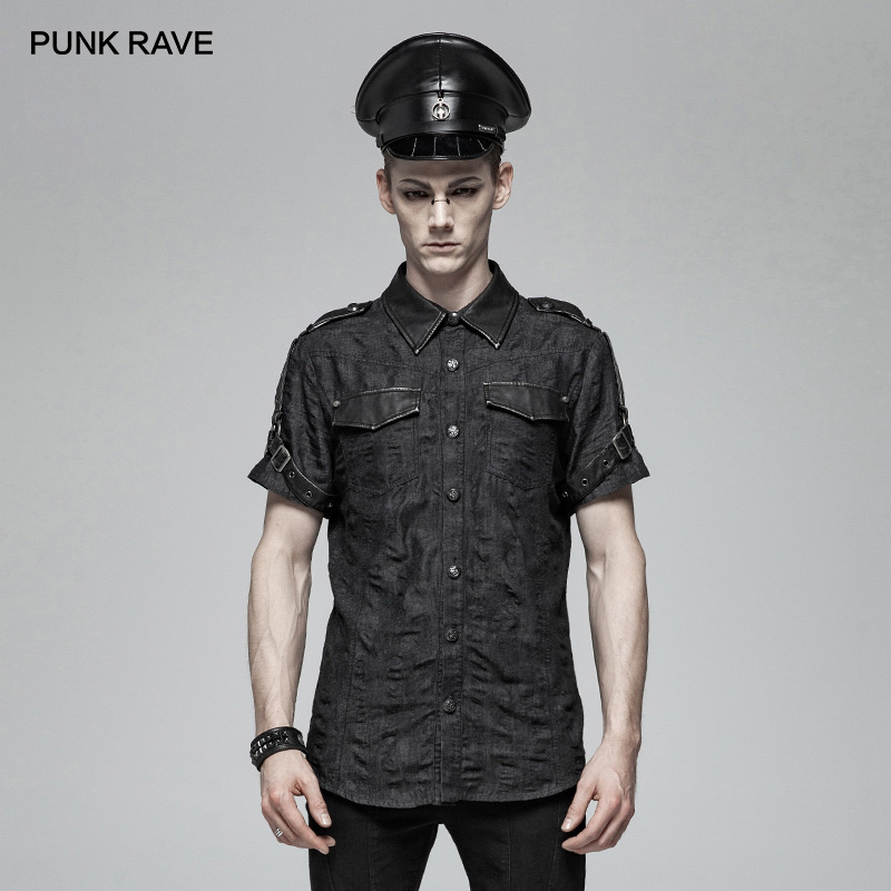 PUNK RAVE Men's Punk Shirt Military Simple Black Short Sleeve Shirt Personality Handsome Casual Street Wear Men Blouse Shirts