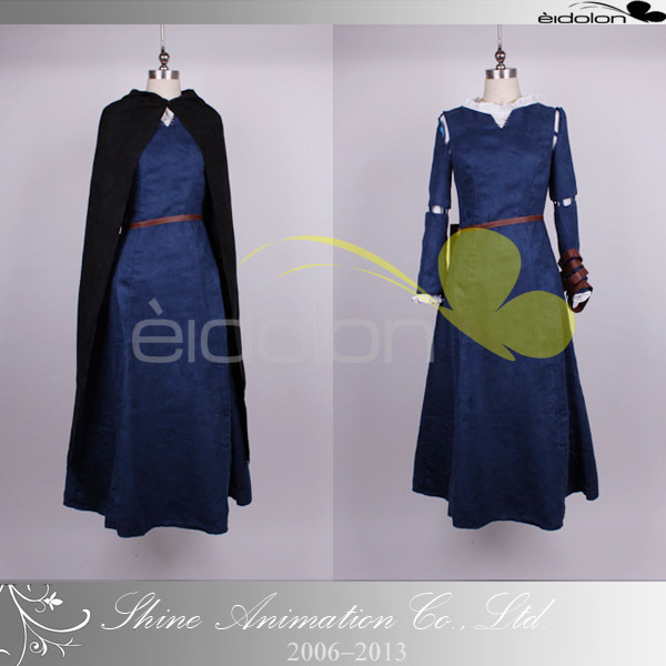 High quality Brave film Princess Merida Costume Cosplay Outfit (Hand-made) dress+cloak