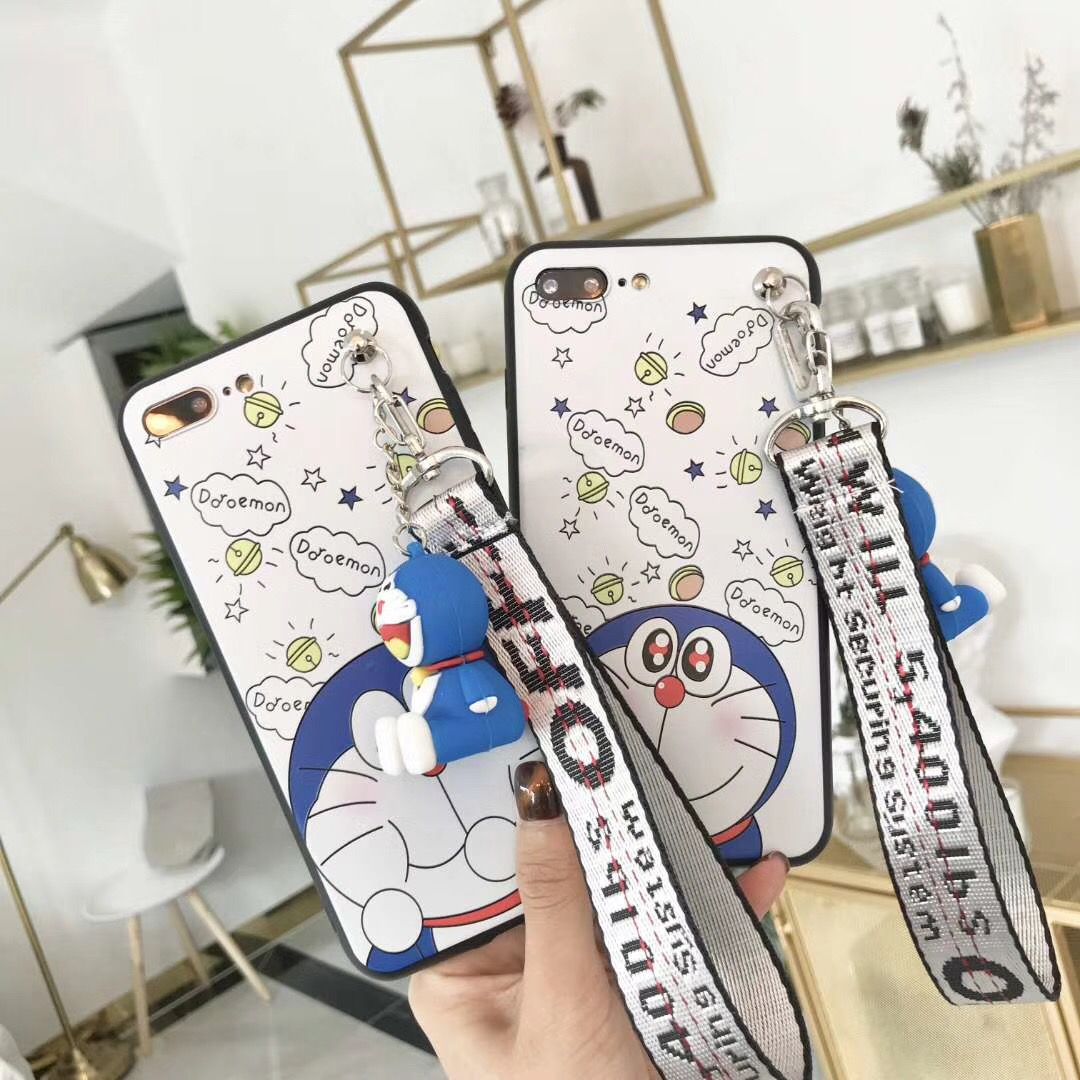 For iPhone 7 plus case Hello kitty cover For iphone X /8 plus/ 6 6splus case cartoon Doraemon fundas + 3D stand doll + rope cute