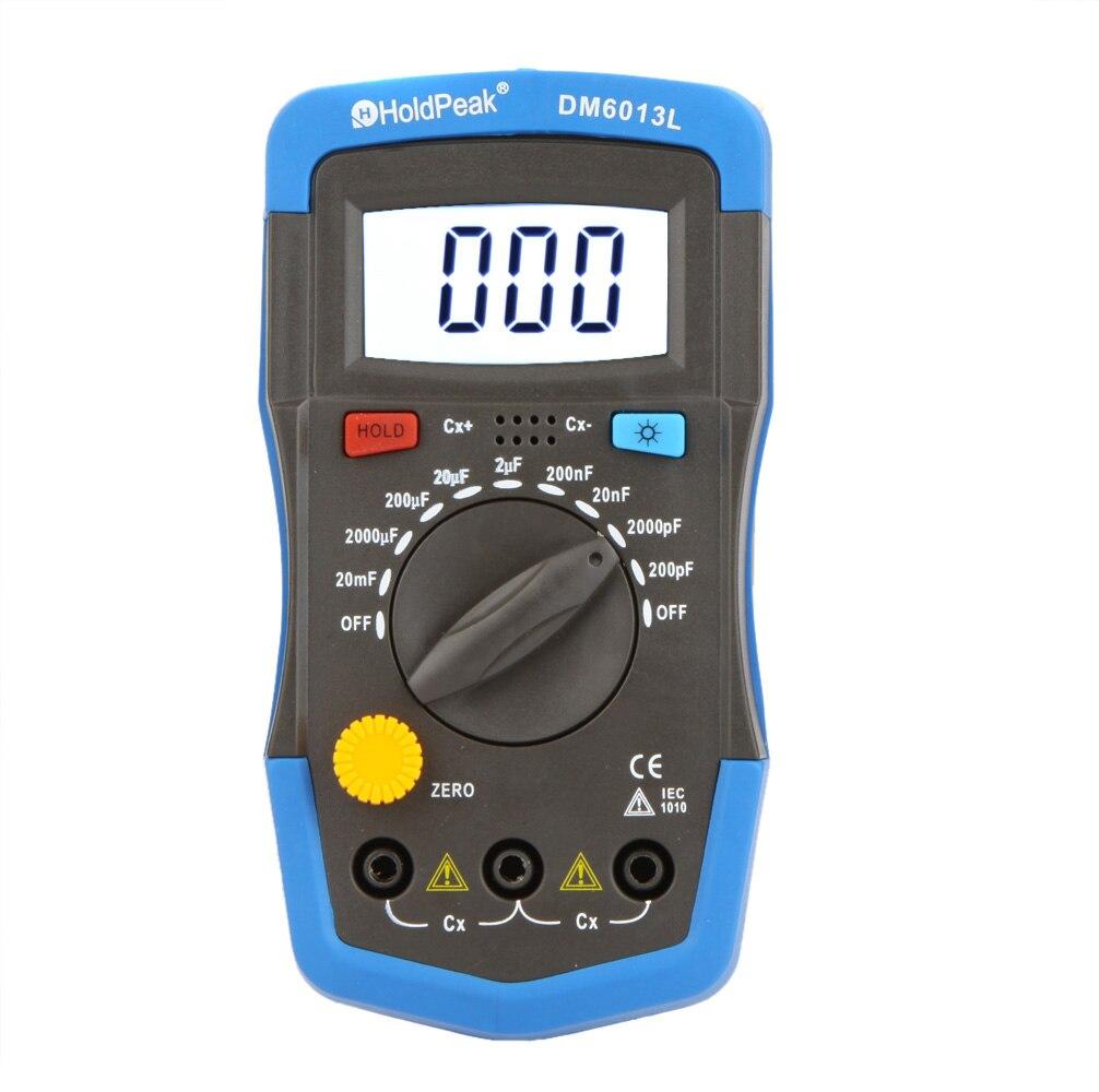 Холдпик 2019 Новый Ручной цифровой конденсатор DM6013L, измеритель емкости, цифровой конденсатор, тестер с ЖК-подсветкой