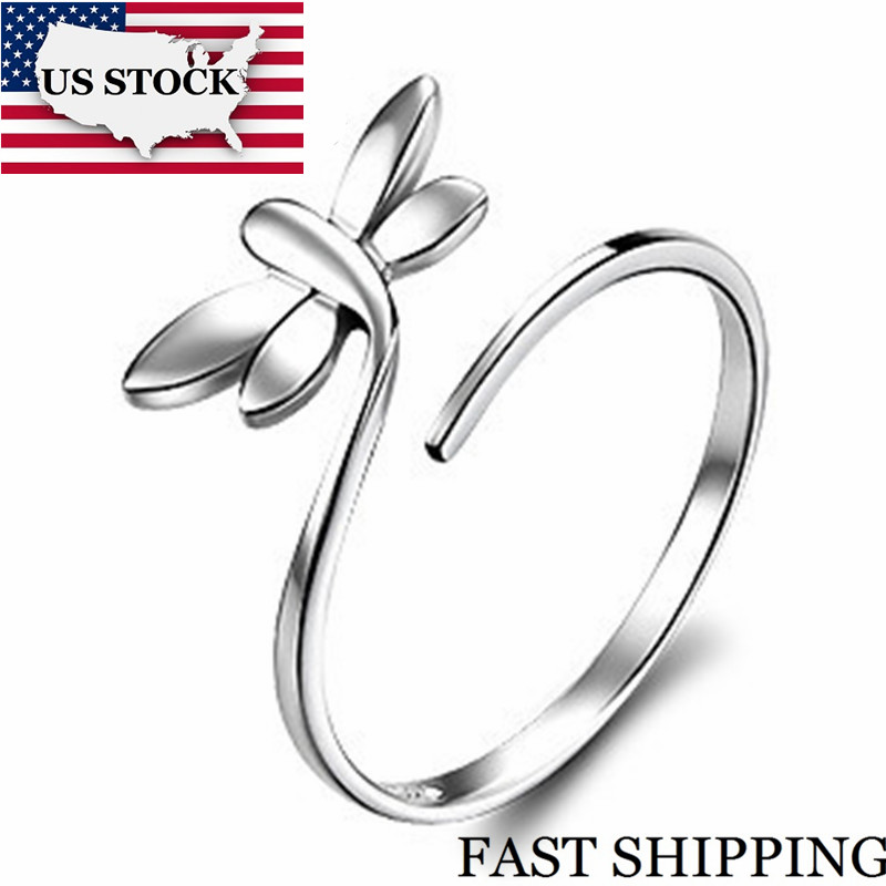 New Dragonfly Sale Silver Plated Ring With Cubic Zircon Rings Adjustable