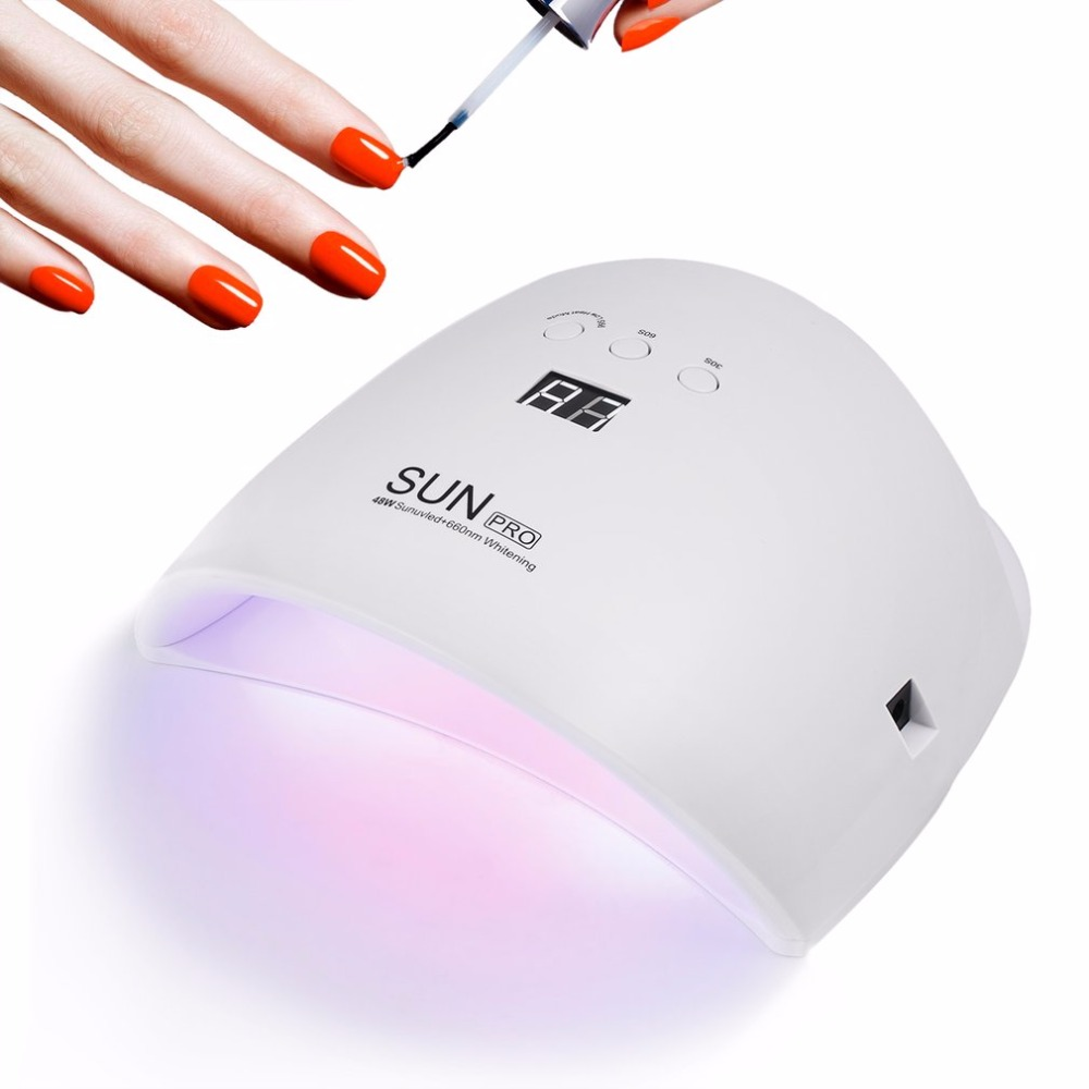 48W UV LED Nail Lamp Light Nail Dryer Gel Polish Curing Lamp Auto Sensor LCD Display 30s/60s/99s Low Heat Mode Portable