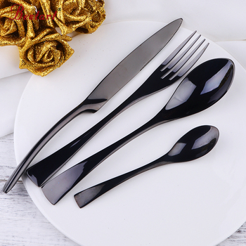 4pcs Home Black Stainless Steel Cutlery Set Mirror Polishing Steak Knife Table Fork Teaspoons Tableware  Dinnerware Set