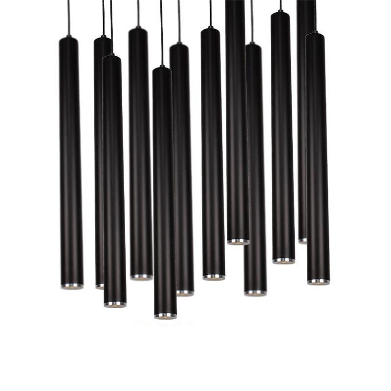 Modern Brief Fashion Black Aluminum Column Led 3W Pendant Light for Dining Room Living Room Bar H 28/48/60/68cm AC 80-265V 1474 fashion pendant light bar pendant light brief modern pendant light