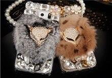 Real Rabbit Fur Fox Head Rhinestone Bling Diamond Case for Samsung Galaxy S7 S7 Edge Rhinestone