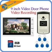 9 дюймов Видео-Телефон Двери Интерком Дверной Звонок Система 8 ГБ SD Карты Запись Видео + 1 Монитор + RFID доступ Hd ИК-Камеры