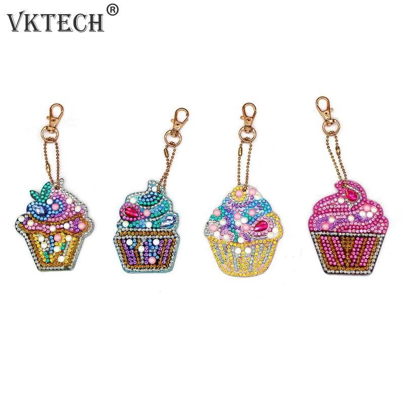 4pcs DIY Keychain Diamond Painting Cake Ice Cream Key Ring Pendant Gift Diamond Embroidery Cross Stitch Needlework Craft