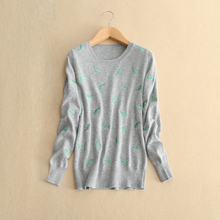 Women's embroidery animal pattern decor pullover sweater 100% cashmere knitted