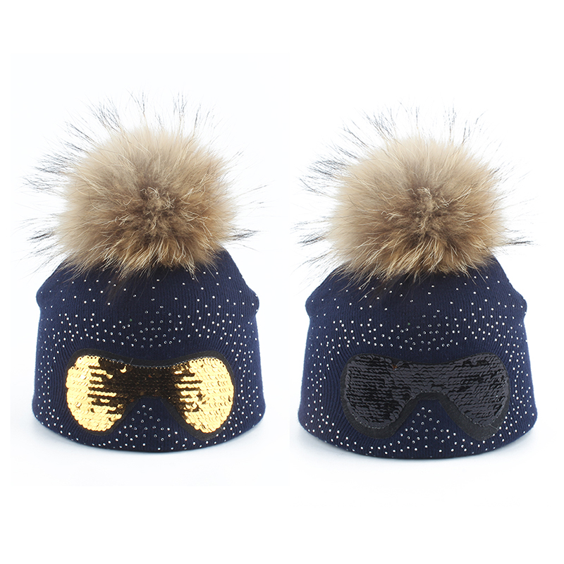 Casual Autumn Winter Beanie Kids Children Fur Pompom Hat Girls Cartoon Sunglasses Funny Hats Winter Knitted Caps Skullies in Hats Caps from Mother Kids