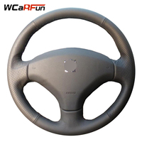 WCaRFun Hand stitched Black Leather Steering Wheel Cover for Peugeot 308 Old Peugeot 408