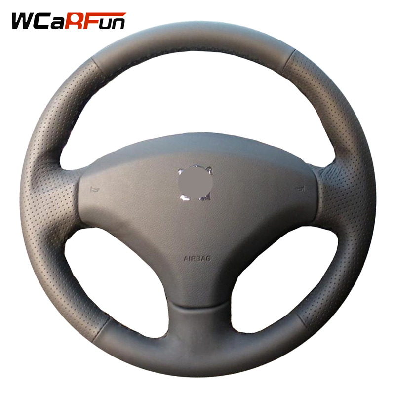 WCaRFun Hand-stitched Black Leather Steering Wheel Cover for Peugeot 308 Old Peugeot 408