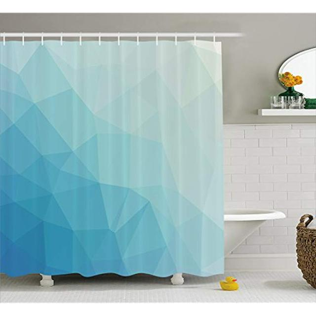 Vixm Teal And White Shower Curtain Inspired Pattern With Low Poly Effect Triangles Fractal Mosaic