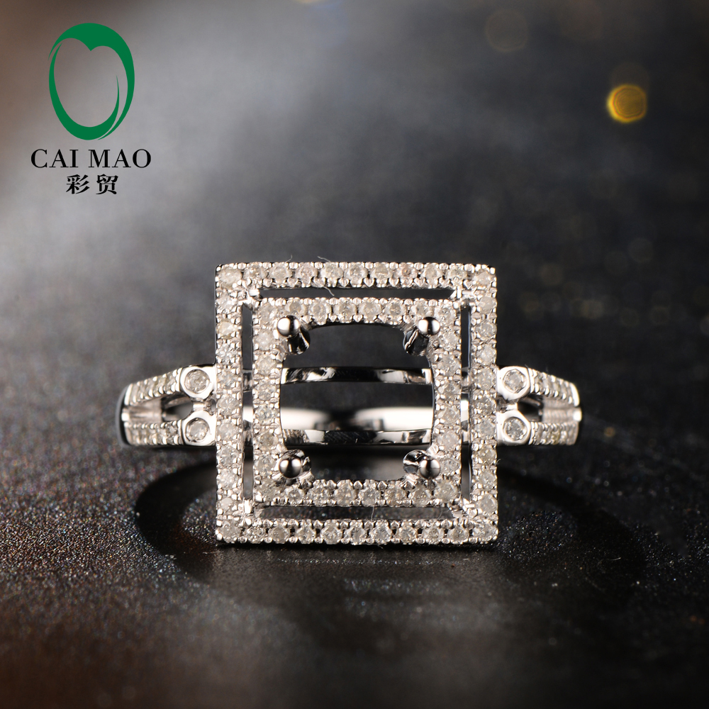 New Arrivals 7mm Round Shape 14K White Gold & 0.39ct Diamond Engagement Semi Mount Setting Ring