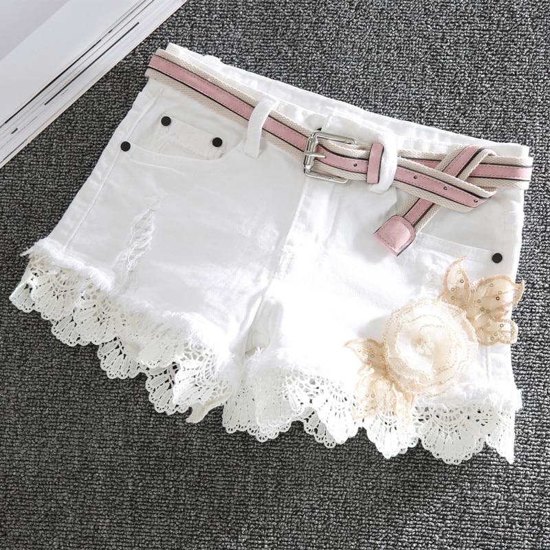Short en denim blanc femmes slim stretch 2019 nouveau mode dentelle pachwork brodé fleur taille basse jeans shorts