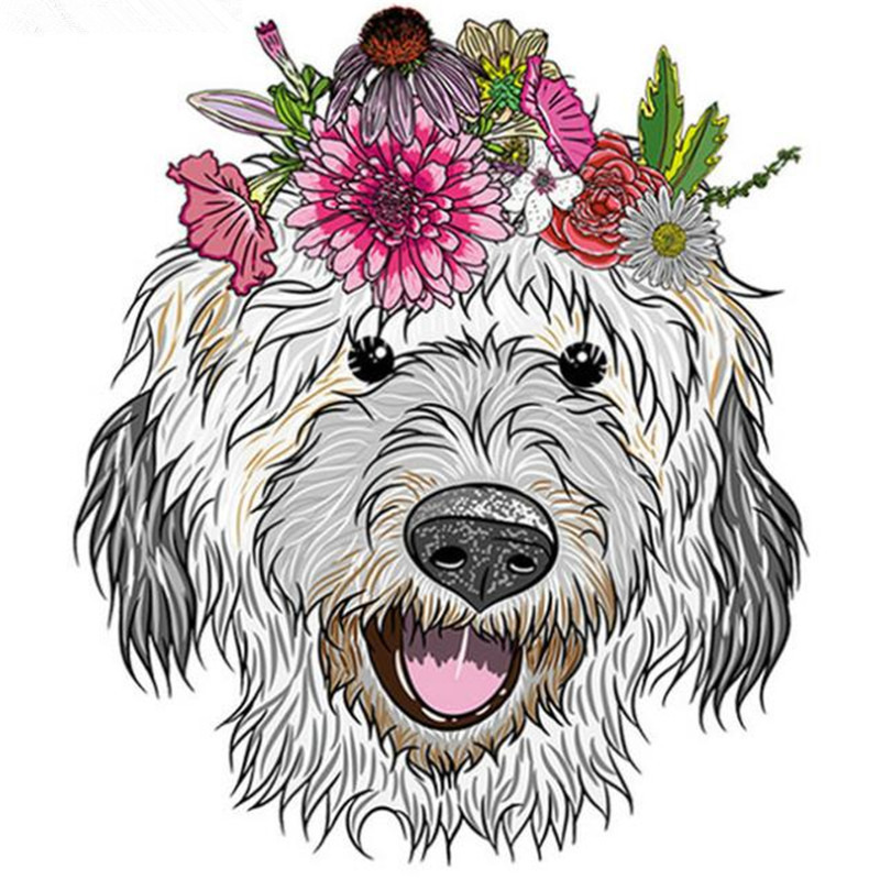 Hairy dog Iron on transfers patches for clothes girl 3d stickers for clothing heat transfer thermocollants t-shirt biker patch