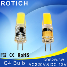 Mini G4 LED Lamp COB Bulb 2-4W DC/AC 12V Light Dimmable 360 Beam Angle Chandelier Lights Replace Halogen Lamps