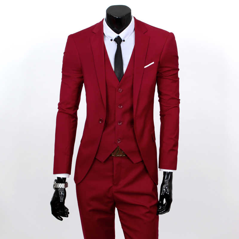 Пиджаки Штаны жилет комплект/2019 Для мужчин модные три Костюм из нескольких предметов комплекты/мужской деловой Повседневный пиджак, куртка жилет брюки блейзер