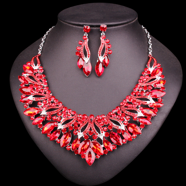 Fashion red crystal bridal jewelry sets wedding necklace earring fashion red crystal bridal jewelry sets wedding necklace earring brides party accessories crystal indian decoration women junglespirit Choice Image