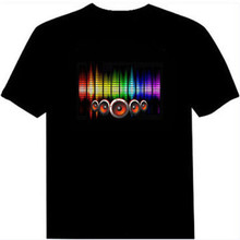 Sound Activated Led T Shirt Man Summer 2018 Tshirt Streetwear Homme Short Sleeve EL Party LED Shirts For Men Fitness Clothing