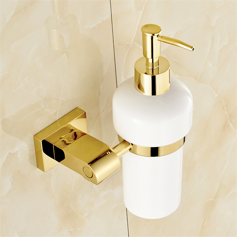 Liquid Soap Dispensers Brass Luxury Gold Color Soap Dispenser Wall Mounted With Frosted Glass Container bottle Bathroom Products in Liquid Soap Dispensers from Home Improvement
