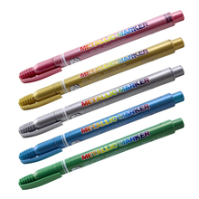 5 pcs Metallic color marker pen for signature drawing on wood glass cloth Shiny gold silver red blue green Scrapbooking CB553 стилус prolife pen 017 5 silver red