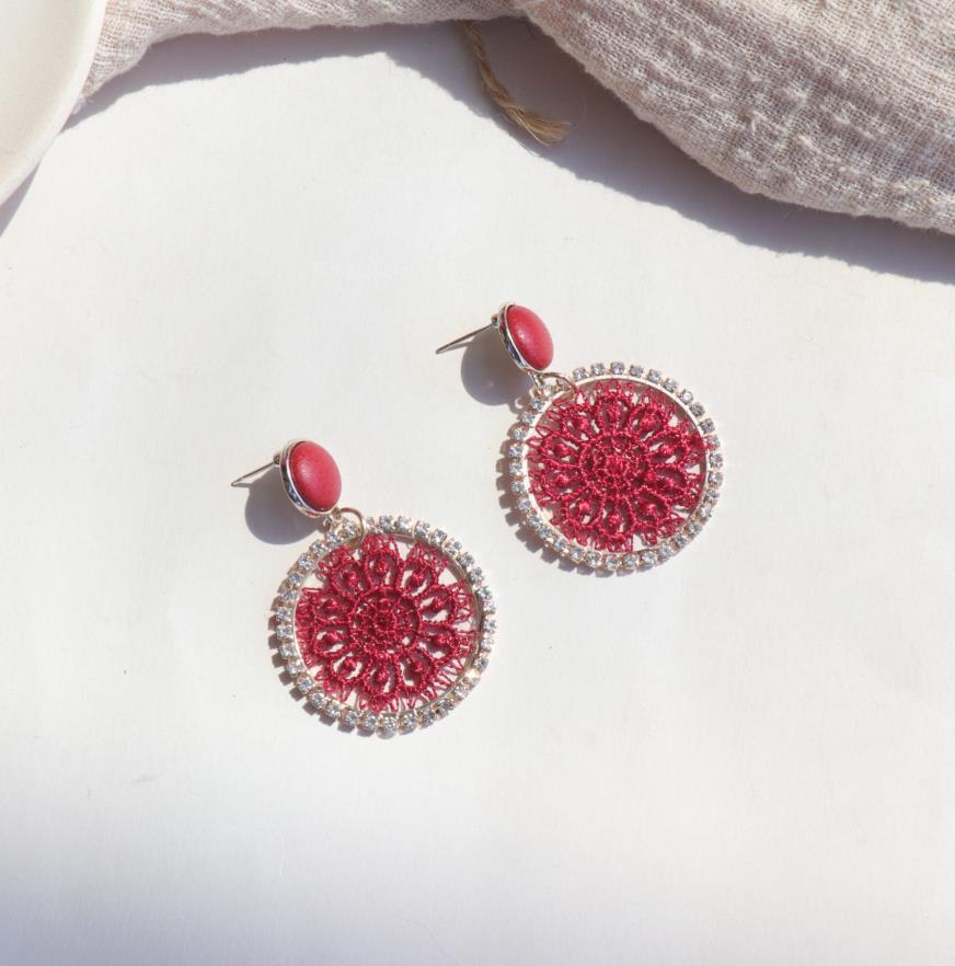 AOMU 2019 corée nouveau cuir bouton rond cristal dentelle fleur géométrique cercle longue goutte boucles d'oreilles pour les femmes étudiant fille cadeau 4