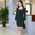 Good quality Wool Linen plus size S-3XL Long sleeve black/Royal blue/dark green OL office dress overalls  woman