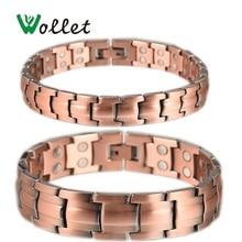 Wollet Health Jewelry Red Copper Magnetic Bracelet for Men Women 2 Row Magnet Healthy Bio Energy Bracelets & Bangles Luxury Gift все цены