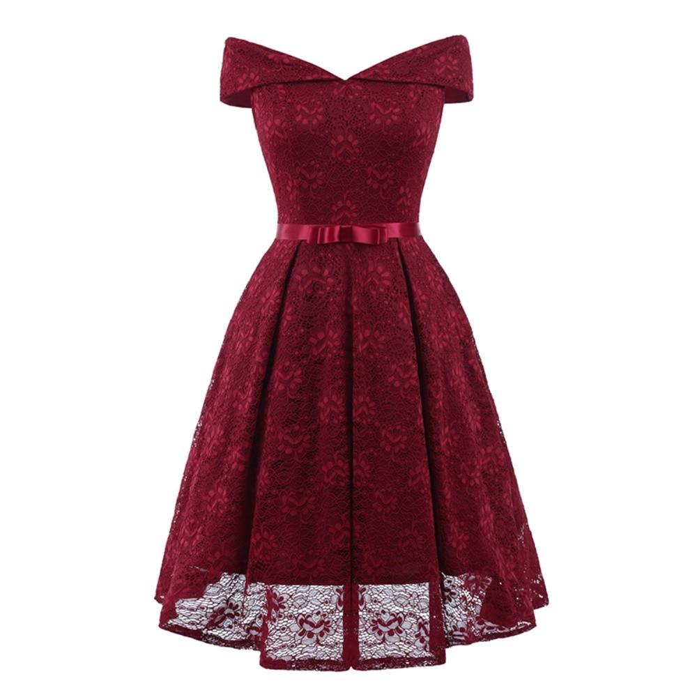 Beauty-Emily 2019 Burgundy Lace Off the Shoulder Elegant   Bridesmaid     Dress   Short V Neck   Dresses   for Wedding Party