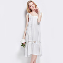 цены на Summer Sleepwear Female Cotton Silk White Sweet Lovely Butterfly knot Lace Big Hem Princess Nightdress L150321  в интернет-магазинах