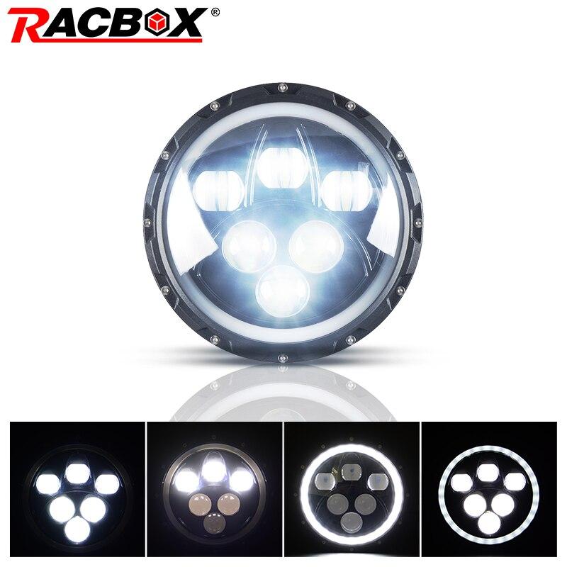 RACBOX 1 pcs 7 60W With LED Chips Projector Headlights For Jeep Wrangler JK/TJ/LJ/CJ Hummer 6000LM Off road 4x4 SUV Fog Light