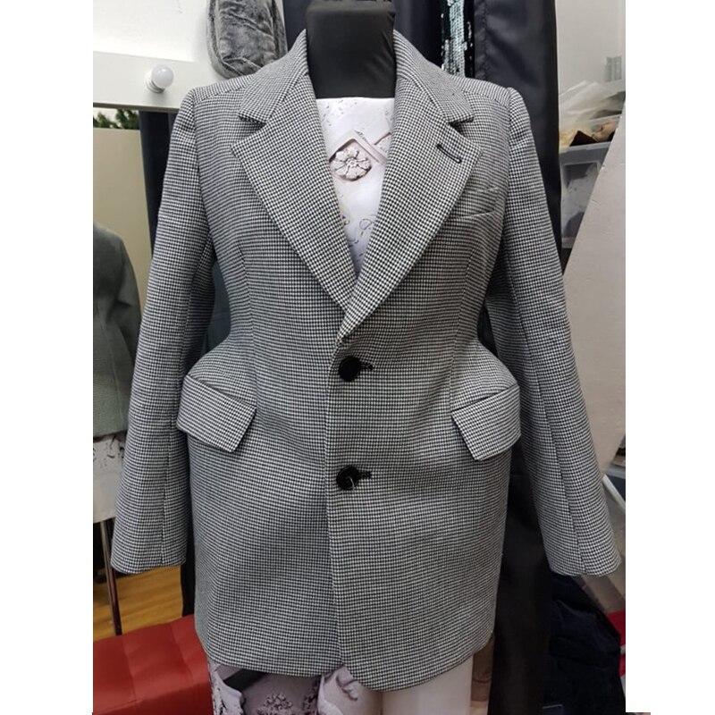 Kadın Giyim'ten Blazerler'de AEL Ekose kadın Blazer Uzun Kollu Yaka Yaka Cep Ince Kadın Ceket Bahar Ofis Bayan Moda Giyim'da  Grup 3