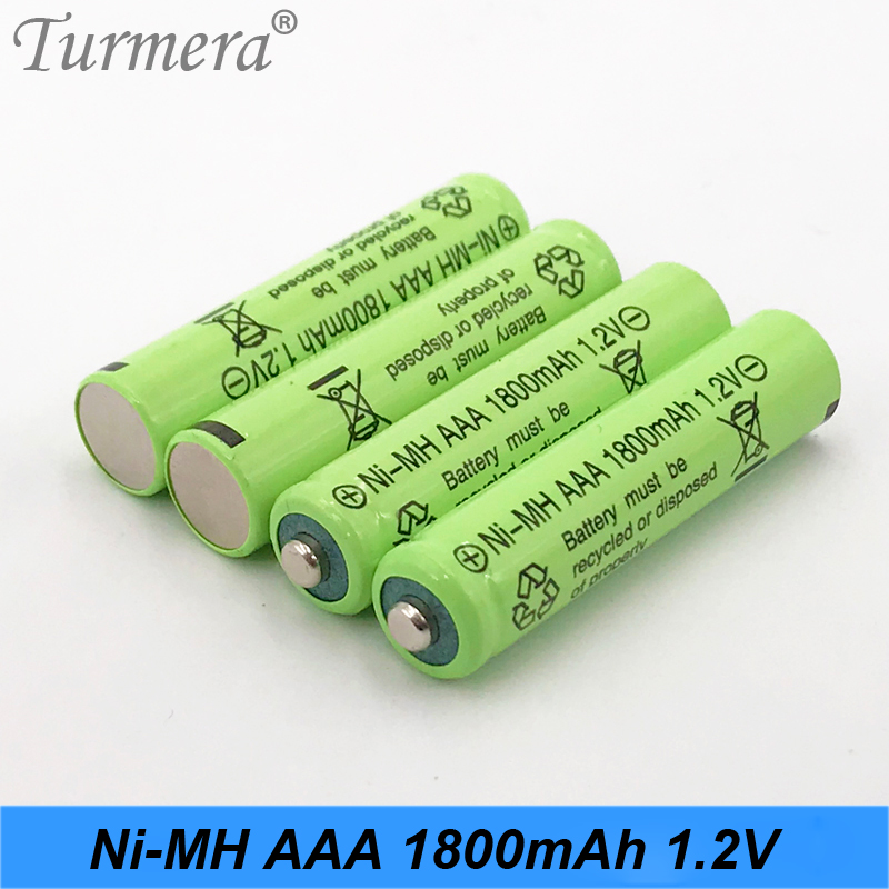 Turmera 4PCS <font><b>AAA</b></font> <font><b>battery</b></font> <font><b>1800mAh</b></font> <font><b>Rechargeable</b></font> <font><b>battery</b></font> <font><b>NI</b></font>-<font><b>MH</b></font> 1.2 V <font><b>AAA</b></font> <font><b>battery</b></font> for Clocks, mice, camera,computers, toys use jan31 image