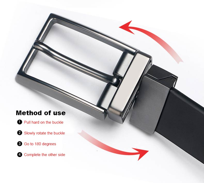 DOULILU Double-sided available Two-layer leather pin buckle belt Men's double-sided leather casual fashion belt rotation buckle  For Men Jeans Casual Belt Pin Buckle Masculine Cummerbund1 (6)
