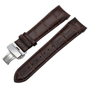 "Image 3 - קצה מעוגל רצועת השעון עור אמיתי 22 מ""מ 23 מ""מ 24 מ""מ עבור Tissot Couturier T035 להקת שעון רצועת אבזם פלדה שורש כף יד צמיד חום"