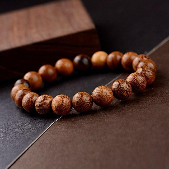 OIQUEI 2019 10 مللي متر الطبيعية خرزات خشبية سوار يوغا الرجال مطاطا البوذية الصلاة بوذا أساور مجوهرات pulsera hombre